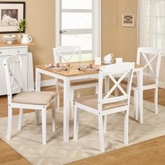 Shop For Simple Living White 5 Piece Crossback Dining Set. Get Free  Delivery At