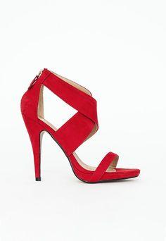 Sandales hautes à brides croisées rouges
