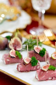 Thinly sliced beef and herb cheese becomes a fancy party appetizer! This is such a fave for holiday parties!