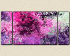 "Large triptych option- abstract expressionism giclee canvas print, 30x60 to 40x78 in purple and hot pink, from abstract painting ""Purple Phase"""