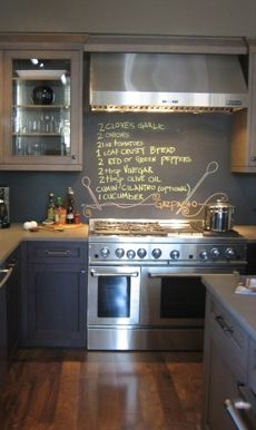 Chalkboard wall.... I should make a board for the kitchen so we already know the menu each day!