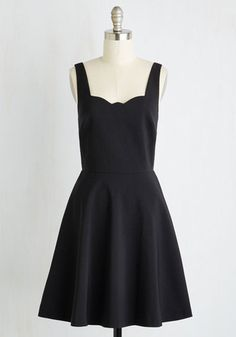 Care to Romance? Dress in Noir. Sitting across from your sweetheart in this black dress, it takes but a glance to romance! #black #modcloth