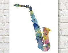 Trumpet Art Print  Abstract Watercolor Painting  Jazz Wall