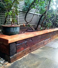 how to build raised flower beds with landscape timbers innovative tber for raised garden beds recycled railway sleepers stained for a raised garden bed building flower beds landscape timbers Railroad Ties Landscaping, Backyard Landscaping, Back Gardens, Outdoor Gardens, Railway Sleepers Garden, Raised Garden Bed Plans, Raised Flower Beds, Raised Beds, Landscape Timbers