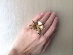 Repurposed Vintage Gold Amber Rhinestone Statement by ZiLLAsQuEeN, $20.00