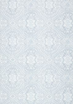 Tulsi Block Print #wallpaper in #aqua from the Caravan collection. #Thibaut