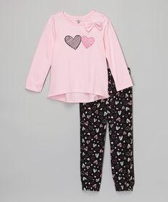 Kids Headquarters Pink Heart Hi-Low Tee & Leggings - Infant, Toddler & Girls | zulily