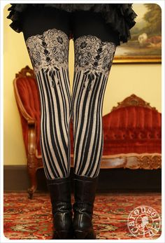 Burlesque Leggings  Garter Legging  BLACK  by Carouselink on Etsy, $32.00