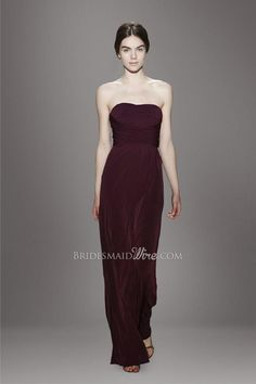 #burgundy strapless straight across neckline ruched bodice floor length #chiffon #bridesmaid dress