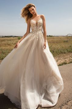 Stunning ball gown wedding dress with illusion neckline. Gala by Galia Lahav, Spring 2017