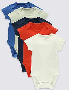 5 Pack Pure Cotton Bodysuits (0- 3 Years) | M&S