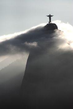 """Corcovado - Rio de Janeiro, Brasil  Looking at """"Christo Redentor"""" atop the Corcovado, from Sugar Loaf."""