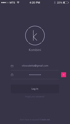 Kombini Log In screen by Vitaly Rubtsov