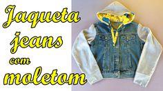 Jaqueta jeans com moletom Diy Jacket jeans sweatpants - Suellen Redesign