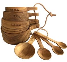 This is a perfect gift set for the chef, baker or foodie! Our sustainable teak measuring cup and spoon set includes 1/8, 1/4, 1/3 and 1/2 cup measurements, and 1 table, 1 tea, 1/2 and 1/4 tea spoon me