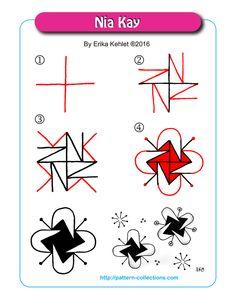 Nia Kay Tangle, Zentangle Pattern by Erika Kehlet Tangle Doodle, Tangle Art, Zen Doodle, Doodle Art, Zentangle Drawings, Doodles Zentangles, Doodle Drawings, Doodle Designs, Doodle Patterns
