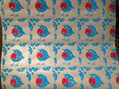 Christmas robin wrapping paper, festive gift wrap on Folksy.