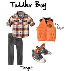 Toddler Boy Outfit for Fall/Autumn from Target. Great outfit inspiration for children's portraits. Puffer Vest, Button Down, Skinny Jeans,