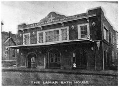 "The Lamar Bath House was part of a complex of buildings, the last of which was next door to the current First Methodist Church on NE 1st Street. I. Page 59 of A.F. Weaver's ""Time Was in Mineral Wells"" defines the Lamar property as consisting of several buildings in the same vicinity. The current Baker Hotel, at the corner of Hubbard and NE 1st Street, replaced all the Lamar buildings along with a couple of other businesses."