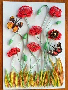 Beautiful poppies & butterfly by Simona Elina