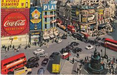 Vintage Piccadilly Circus #180Piccadilly. Hand coloured.