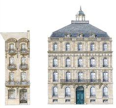 Cours de Verdun N°5 et 25 Bis Architecture Parisienne, Architecture Classique, Neoclassical Architecture, Classic Architecture, Commercial Architecture, Victorian Architecture, Historical Architecture, Architecture Details, Architecture Blueprints