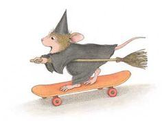 Halloween House Mouse witch on skateboard.