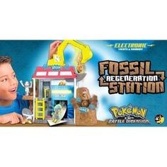 "Pokemon Fossil Regeneration Station by Jakks. $19.95. Multiple Play Areas. Magical Transformation: Insert Fossil and Pokemon Pops Out. Kid Powered Shovel. Real Lights and Sounds. Large Playset. From the Manufacturer                With the Pokemon Fossil Restoration Station you can find and transform fossils into Pokemon.  This large playset for your 3"" Pokemon Vinyl Figure has a kid powered shovel that allows you to dig and find fossils to transform inside of the re..."