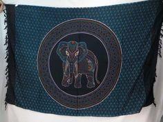 Thousand Dots Hippie Indian Elephant Mandala blue black Sarong Tapestries Wall Hanging $5.25 - http://www.wholesalesarong.com/blog/thousand-dots-hippie-indian-elephant-mandala-blue-black-sarong-tapestries-wall-hanging-5-25/