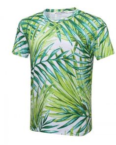 Leaf Colorful Boys and Girls Soft Short Sleeve T-Shirt,Jungle Forest Palm Leaves