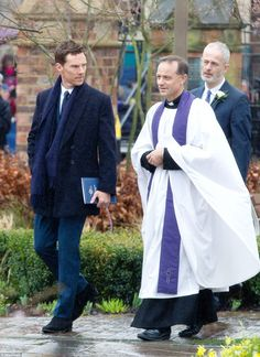 Benedict Cumberbatch walks with Canon Michael Harrison at the burial of Richard III. Sherlock star Cumberbatch - believed to be a distant relative of the king - is due to read a 14-line poem entitled Richard penned by poet laureate Carol Ann Duffy