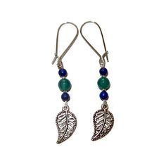 Turquoise and Navy Silver Leaf Dangle Earrings by CloudNineDesignz