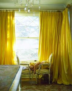 yellow silk drapes...I don't know whether to hang them or make a dress out of them