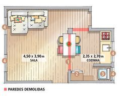 Espaço e luz em 21 m²: a parede (1) que antes funcionava como fronteira entre os dois ambientes veio abaixo, mas foi necessário preservar uma viga e duas colunas, elementos estruturais do edifício. Geladeira (2) e máquina de lavar (3) ocuparam um cantinho da cozinha de forma estratégica. A integração trouxe um incremento e tanto em termos de iluminação. Agora, ambos os cômodos são banhados pela luz de todas as janelas (4).