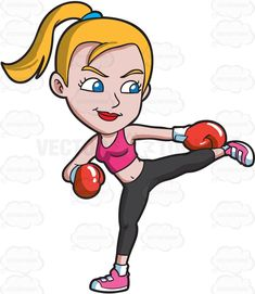 A woman in a kickboxing session #cartoon #clipart #vector #vectortoons #stockimage #stockart #art