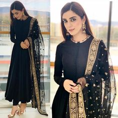 Buy this beautiful black suit she_designer_official fabric georget suit length 53 semi stich upto 44 row silk bottom unstitch net duppata with heavy embroidery work price 1950 shipping extra short suits are about to be the biggest summer trend Pakistani Formal Dresses, Indian Gowns Dresses, Pakistani Dress Design, Pakistani Outfits, Indian Dresses For Women, Pakistani Couture, Indian Wedding Outfits, Indian Outfits, Bridal Outfits