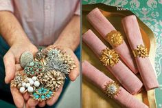 Napkin rings from old costume jewelry