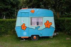 Sweet turquoise tiny trailer