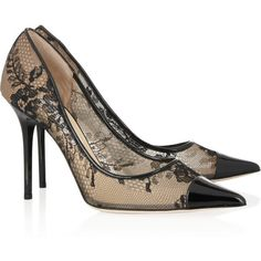 Jimmy Choo Amika patent leather-trimmed lace and mesh pumps ($695) found on Polyvore