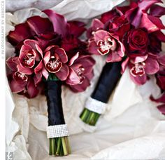 Bridesmaids dresses are Bill Levkoff wine color, what color roses? :  wedding Redcyms