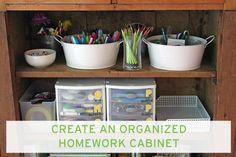 Create an Organized Homework Cabinet