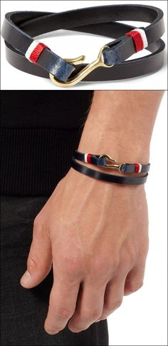 Miansai Foksol Leather and Metal Hook Bracelet MATCHES LONDON FASHION RED WHITE BLUE DETAILS STRIPES GOLD HOOK CLASP