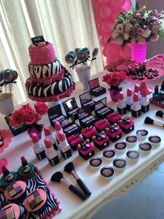 Makeup Birthday Party Party Ideas in 2019 Spa birthday, Pamper makeup ideas party - Makeup Ideas Barbie Birthday Party, 13th Birthday Parties, Barbie Party, Birthday Cake Girls, Birthday Party Themes, Birthday Cakes, Birthday Ideas, Makeup Birthday Parties, Zebra Birthday