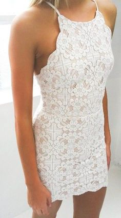 whit lace dress.