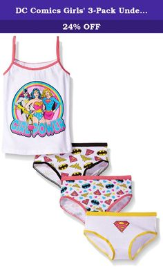 DC Comics Girls' 3-Pack Underwear and Tank Set, Assorted, 8. DC girl 4 piece set, tank, 3 panties.