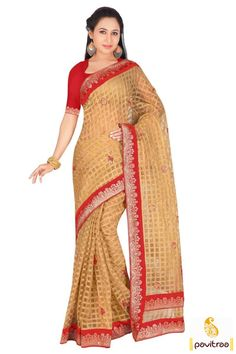 Look graceful after wearing this awesome beige red chiffon saree with embroidery work. It is chic with delightful chex design and red floral embroidery work.   #saree, #dailywearsaree, #partysaree, #casualsaree, #cottonsaree, #silksaree