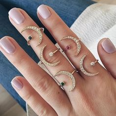 EF Collection Pink Sapphire Diamond Crescent Moon Ring (€840) ❤ liked on Polyvore featuring jewelry, rings, 14 karat gold jewelry, stackable rings, layered rings, pink sapphire ring and diamond rings