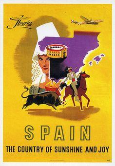 Spain, Iberia vintage travel poster