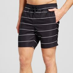 Men's Stripe Swim Trunks - Trinity Collective Black Xxl