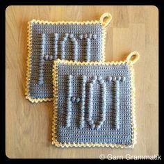 HOTTE grydelapper - Garn Grammatik Crochet Potholders, C2c Crochet, Crochet Patterns, Crochet Ideas, Crochet Hot Pads, Crochet Home Decor, Crochet Kitchen, Hand Art, Crochet For Beginners